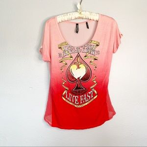 AFFLICTION Red Ombré Sheer Chiffon Back Top